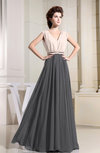 Modest A-line V-neck Sleeveless Pleated Evening Dresses