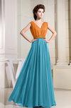 Informal A-line Sleeveless Floor Length Pleated Prom Dresses