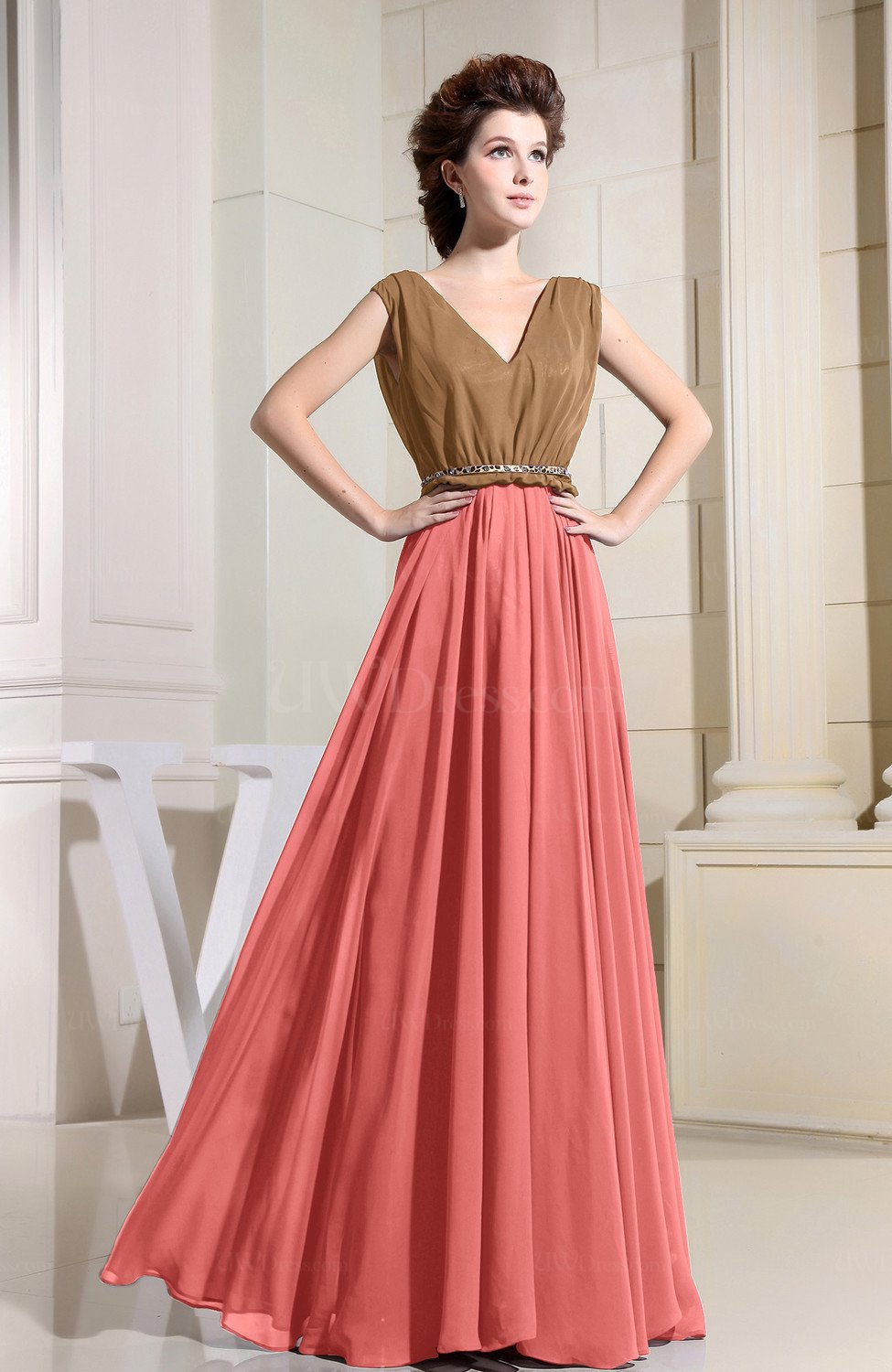 f4493856f Coral Vintage A-line Sleeveless Zip up Chiffon Pleated Prom Dresses ...