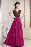 Casual A-line V-neck Sleeveless Zipper Prom Dresses