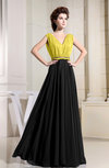 Casual V-neck Sleeveless Zip up Chiffon Floor Length Evening Dresses