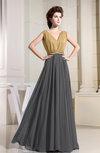 Hawaiian A-line V-neck Chiffon Floor Length Pleated Prom Dresses