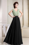 Informal V-neck Sleeveless Chiffon Floor Length Prom Dresses
