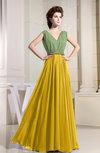 Vintage V-neck Zip up Chiffon Floor Length Pleated Evening Dresses