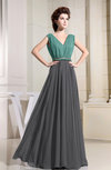 Vintage A-line V-neck Zipper Chiffon Pleated Bridesmaid Dresses