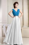 Hawaiian V-neck Sleeveless Zipper Chiffon Floor Length Bridesmaid Dresses