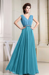 Casual A-line V-neck Chiffon Floor Length Pleated Prom Dresses