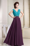 Casual A-line V-neck Chiffon Floor Length Pleated Bridesmaid Dresses