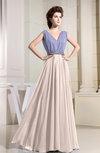 Modest V-neck Sleeveless Zipper Floor Length Pleated Bridesmaid Dresses