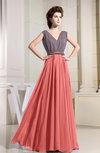 Antique A-line V-neck Sleeveless Zipper Chiffon Evening Dresses