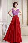 Casual Sleeveless Zipper Chiffon Floor Length Pleated Bridesmaid Dresses