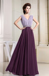 Antique Sleeveless Zip up Chiffon Floor Length Pleated Bridesmaid Dresses