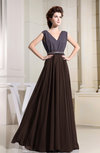 Antique A-line V-neck Chiffon Floor Length Pleated Evening Dresses