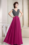 Elegant Sleeveless Zipper Chiffon Floor Length Pleated Prom Dresses