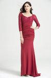 Elegant Sweetheart 3/4 Length Sleeve No Hi-Lo Ruching Plus Size Prom Dresses