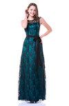 Modern A-line Jewel Zip up Elastic Woven Satin Floor Length Plus Size Prom Dresses