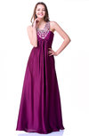 Elegant A-line V-neck Sleeveless Chiffon-Satin Paillette Plus Size Prom Dresses