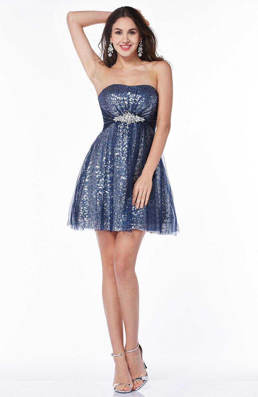Modern A-line Strapless No Short Sequin Plus Size Prom Dresses ...