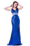 Romantic Trumpet V-neck Sleeveless Zip up Rhinestone Plus Size Prom Dresses