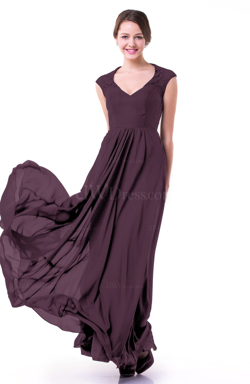 Plum Classic A-line Zipper Chiffon Pleated Plus Size Prom Dresses ...