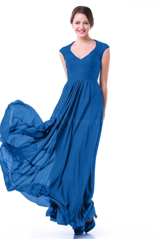 Royal Blue Classic A-line Zipper Chiffon Pleated Plus Size Prom Dresses