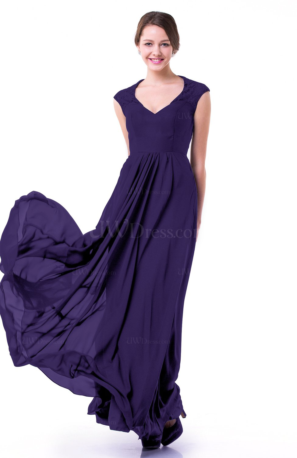 Royal Purple Classic A-line Zipper Chiffon Pleated Plus Size Prom ...
