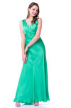 Traditional A-line Sleeveless Zipper Floor Length Ruching Plus Size Prom Dresses