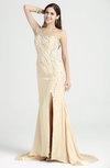 Classic Sheath Asymmetric Neckline Sleeveless Half Backless Chiffon-Satin Plus Size Prom Dresses