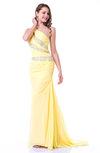 Modern One Shoulder Sleeveless Zipper Chiffon Ruching Plus Size Prom Dresses