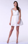 Modern A-line Short Sleeve Satin Short Plus Size Prom Dresses
