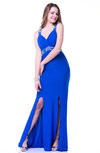Sexy Fit-n-Flare Thick Straps Sleeveless Criss-cross Straps No Plus Size Prom Dresses