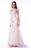 Sexy Fishtail Sweetheart Sleeveless Satin Rhinestone Plus Size Prom Dresses