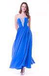 Elegant A-line V-neck Half Backless Chiffon Floor Length Plus Size Prom Dresses