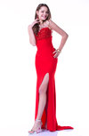 Romantic A-line Illusion Sleeveless Sweep Train Sequin Plus Size Prom Dresses