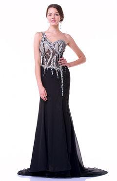 5f488b20d0 Black Elegant Fit-n-Flare One Shoulder Sleeveless Chiffon Rhinestone Plus  Size Prom Dresses