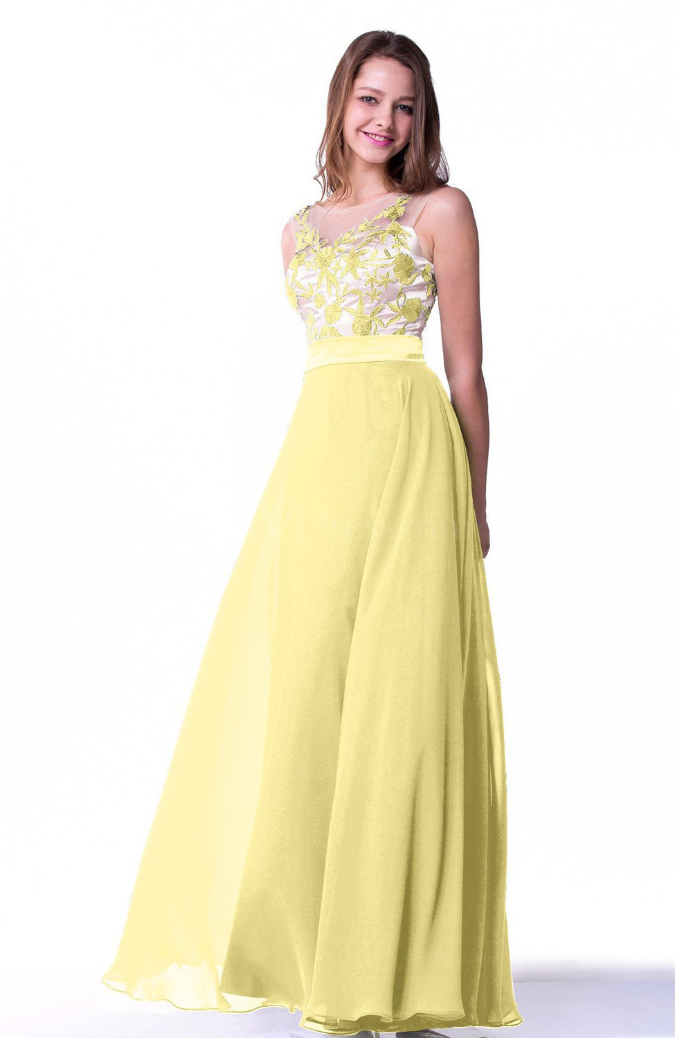 Pastel Yellow Glamorous A-line Sleeveless Chiffon Ribbon