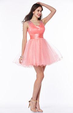 7bd80d4cf98b Coral Modern Baby Doll Thick Straps Silk Like Satin Short Rhinestone Plus  Size Prom Dresses