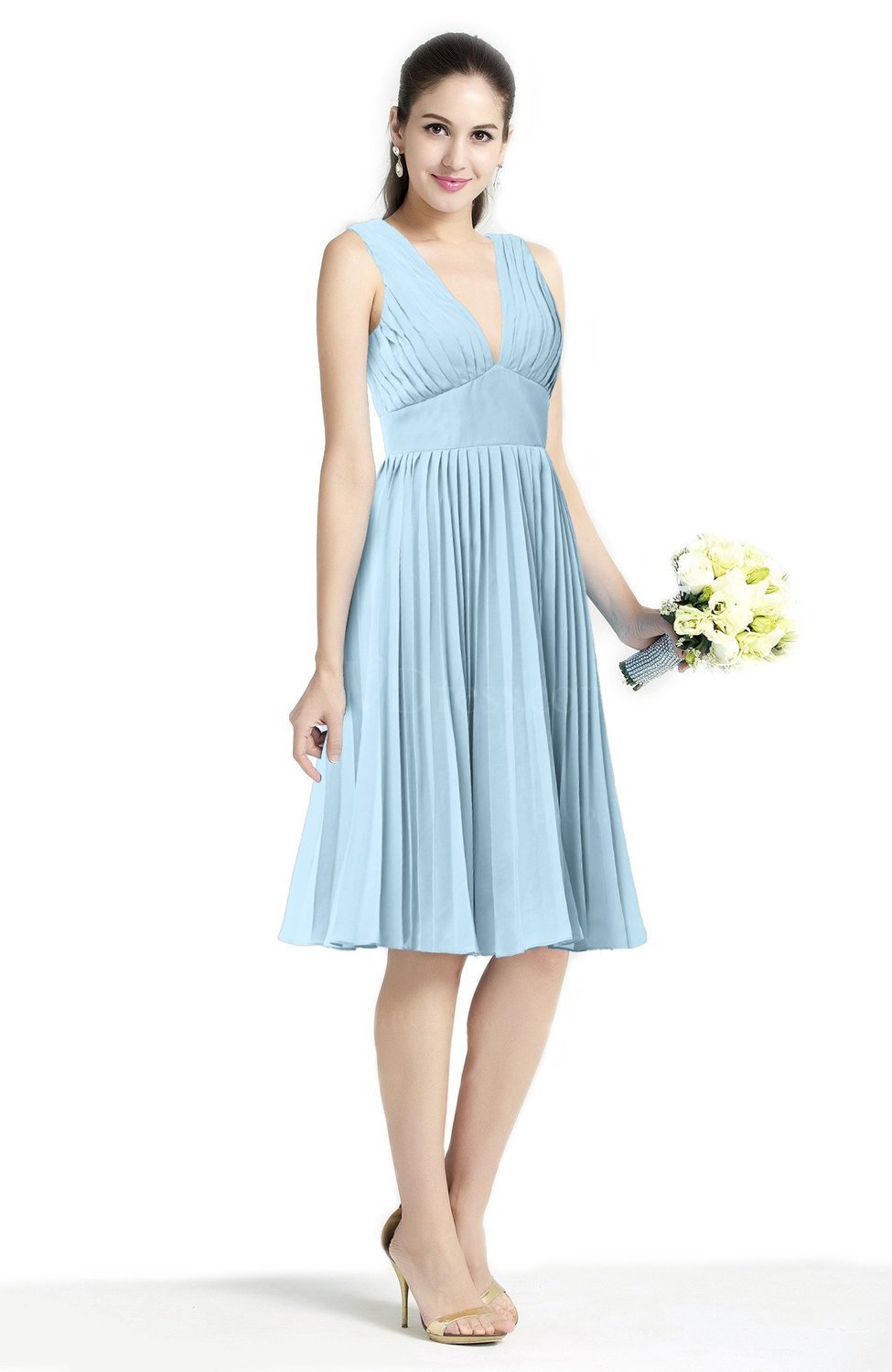 ad52c06e7 Ice Blue Plain A-line V-neck Zip up Chiffon Sash Plus Size Bridesmaid  Dresses (Style D09944)