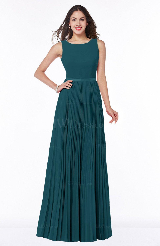 Blue Green Simple A-line Chiffon Floor Length Sash Plus Size ...