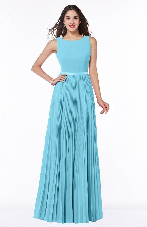 Light Blue Simple A-line Chiffon Floor Length Sash Plus Size Bridesmaid  Dresses