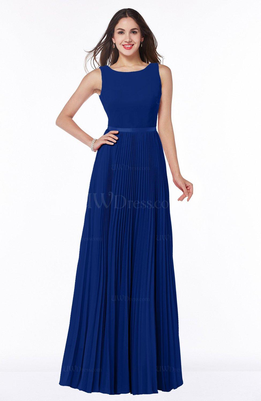 Sodalite Blue Simple A-line Chiffon Floor Length Sash Plus Size Bridesmaid  Dresses