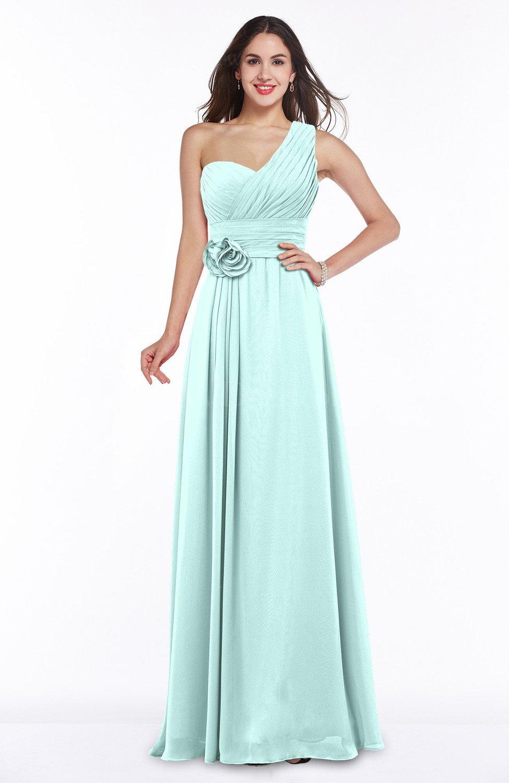 Blue Glass Elegant Asymmetric Neckline Zipper Chiffon Ruching Plus ...