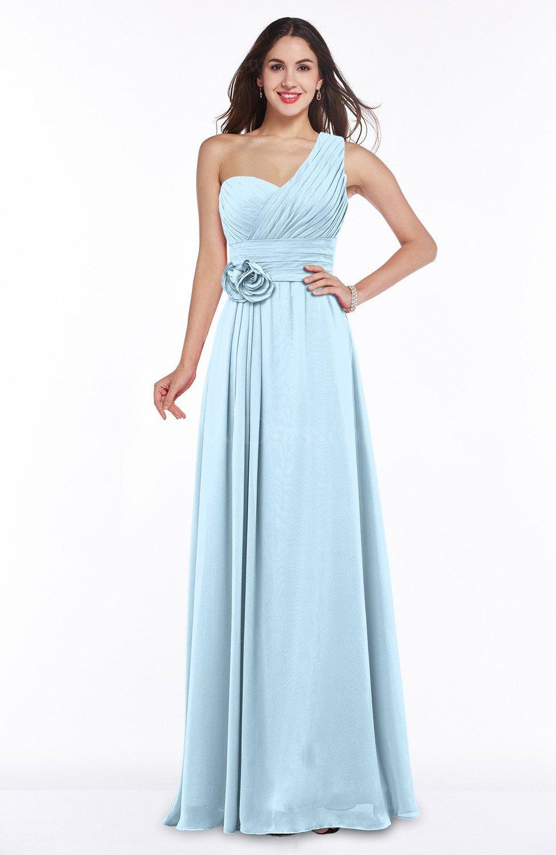 Ice Blue Elegant Asymmetric Neckline Zipper Chiffon Ruching Plus Size  Bridesmaid Dresses
