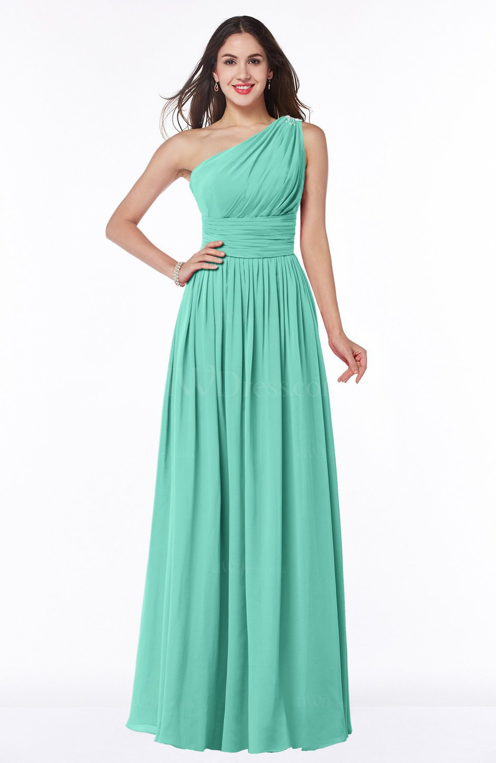83559fc0ccac5 Mint Green Traditional A-line One Shoulder Sleeveless Chiffon Floor Length  Plus Size Bridesmaid Dresses (Style D21761)