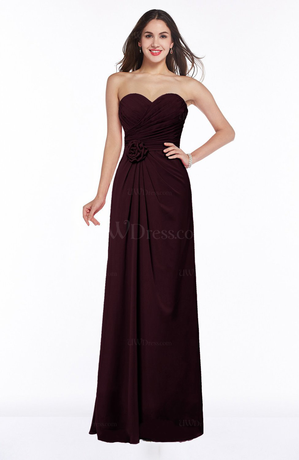 Burgundy Modern A-line Sweetheart Chiffon Floor Length Plus Size Bridesmaid  Dresses