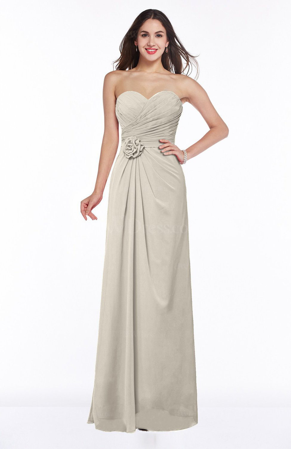Champagne Modern A-line Sweetheart Chiffon Floor Length Plus Size  Bridesmaid Dresses