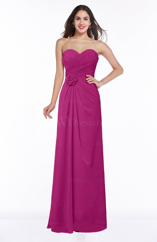Hot Pink Modern A-line Sweetheart Chiffon Floor Length Plus Size ...