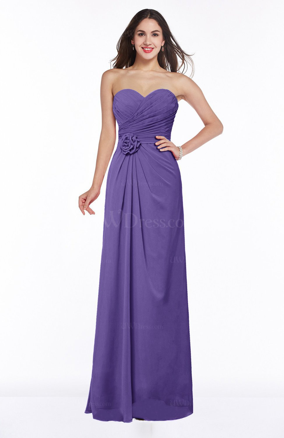 Lilac Modern A-line Sweetheart Chiffon Floor Length Plus Size Bridesmaid  Dresses
