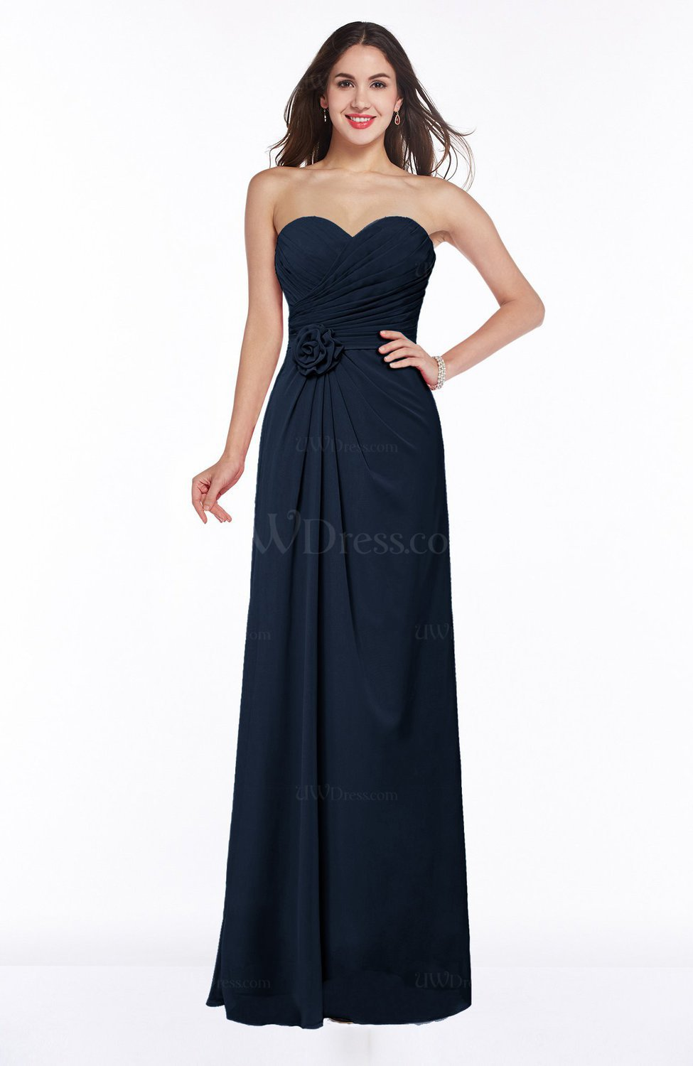 Navy Blue Modern A-line Sweetheart Chiffon Floor Length Plus Size  Bridesmaid Dresses