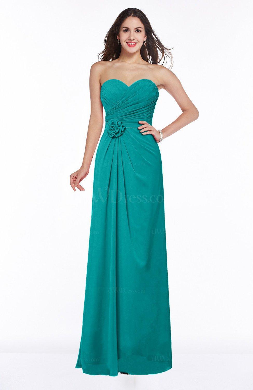 Viridian Green Modern A-line Sweetheart Chiffon Floor Length Plus Size  Bridesmaid Dresses
